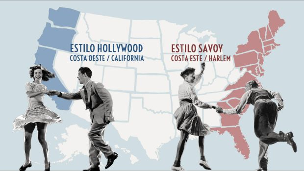 mapa lindy hop estilo savoyy hollywood