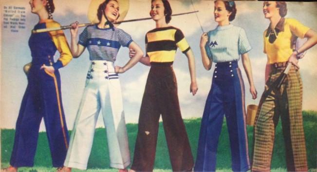 pantalones deportivos y camisetas de punto de 1938