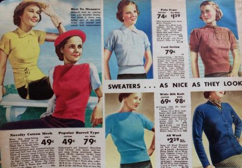 camisetas de puntos y sueters de 1937