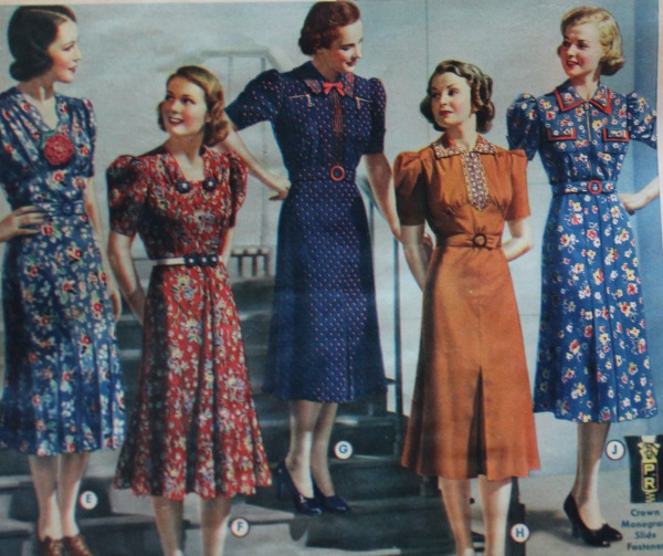 vestidos de dia de 1938